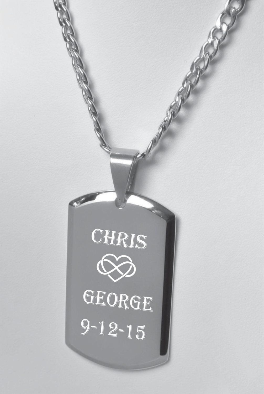 engraved dog tag custom dog tag silver dog tag necklace. Black Bedroom Furniture Sets. Home Design Ideas