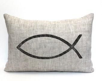 """ichthus pillow, Christian pillow, Christian gift, """"The Ichthus"""""""