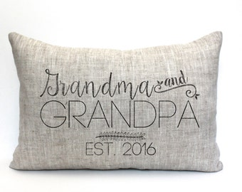 """grandparent christmas gift, grandparent gift, grandma christmas gift, grandpa gift, personalized pillow,  """"The Grandma & Grandpa 3"""""""