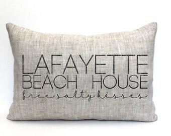 "beach pillow, beach house, family name pillow, name pillow, beach house decor, christmas gift - ""The Lafayette"""