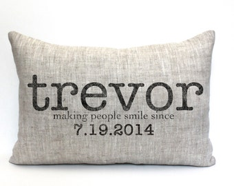 """baby gift, baby pillow, baby shower gift, child's name pillow, personalized pillow, birthday pillow, mothers day gift - """"The Trevor"""""""