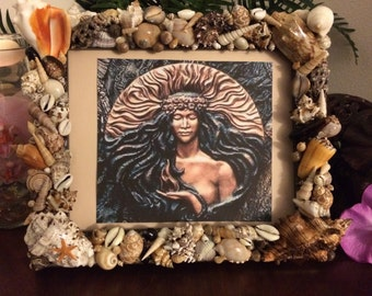 Beautifully Handcrafted Hawaiian Seashell Frame with Print of Madame' Pele Goddess of Fire