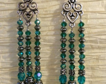 Extra Long Chandelier Earrings in Teal Crystal and Silver Findings.