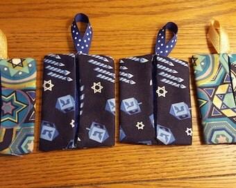 Chanukah Hanukkah Jewish Fabric Star of David Magen David Gift Card Holder Pouch Envelope Case Teacher Gifts