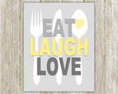 Kitchen Printable, Eat Laugh Love, Kitchen Decor, Kitchen Wall Art, Yellow Gray Silverware Art, Fork Spoon Knife 8x10 16x20 Instant Download