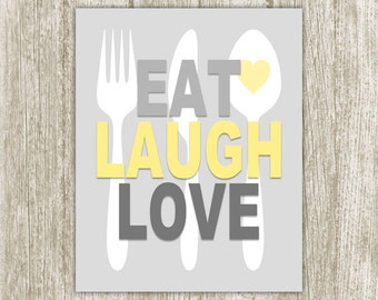 Kitchen Printable, 8x10, Instant Download, Eat Laugh Love, Kitchen Decor, Kitchen Wall Art, Yellow Gray Silverware Art, Fork Spoon Knife