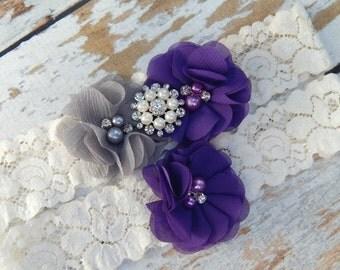 Gray and Purple Garter Set , Wedding Garter , Garter Set , Garter , Toss Garter , Wedding Garter Set , Bridal Garter