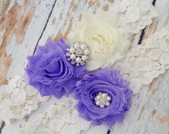 Your Color ,Lavender Chiffon Wedding Garter Set , Wedding Garter , Garter Set , Bridal Garter , Purple Wedding Garter Se