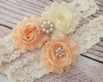 Peach Chiffon Wedding Garter Set , Wedding Garter , Garter Set ,Garters for Wedding, Bridal Garter