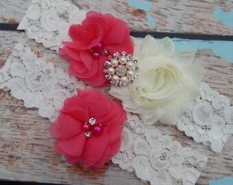 Your Colors , Hot Pink Chiffon Wedding Garter Set , Wedding Garter , Garter Set ,Garters for Wedding, Bridal Garter