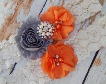 Your Colors , Gray and Orange Garter Set , Wedding Garter , Garter Set , Garter , Toss Garter , Wedding Garter Set , Bridal Garter