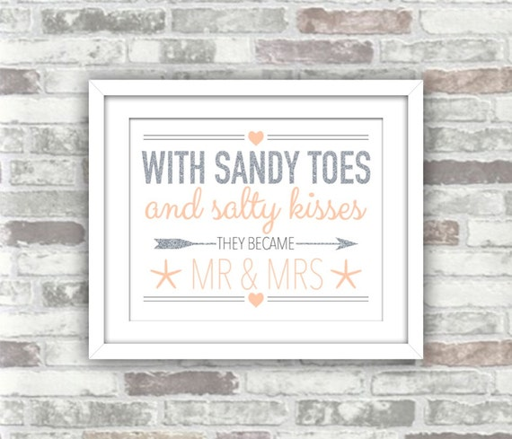 INSTANT DOWNLOAD - Beach Wedding Printable Sign - Digital File - With Sandy Toes and Salty Kisses - Silver Glitter Effect Blush - Coastal