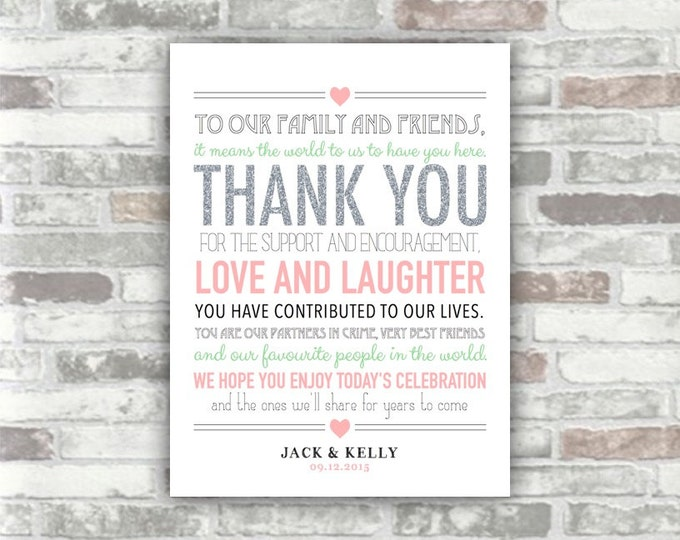 PRINTABLE Digital File - Wedding Thank You Sign 6x8 - Silver Glitter Effect Blush Pink Green - Place Setting Table Decor Welcome Print