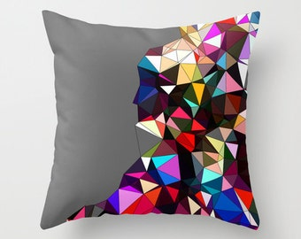 Decorative Throw Pillow Cover, Grey Geometric Pillow Cover, Throw Pillow Cover, Multicolored Pillow Cover, Art Pillow Cover, Colorful pillow