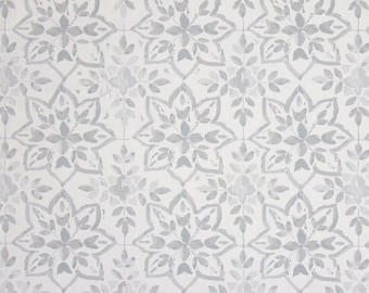 "0.5 yard Oilcloth - Laminated waterproof Cotton tablecloth Avignon grey 52"" wide"