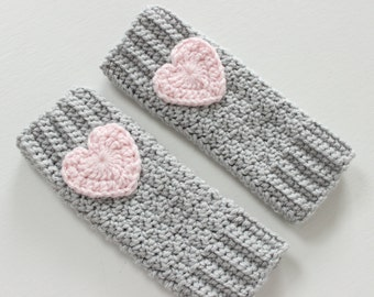 Heart Leg Warmers for Baby/Toddler, Heart Leg Warmers - White with Pink Hearts - Crochet - Newborn-3T
