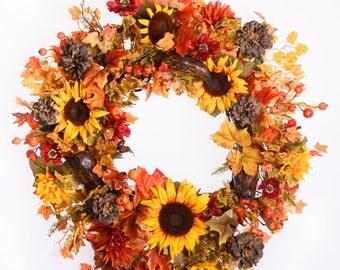 Sunflower,  Mum and Zinnia Wreath (FW707)