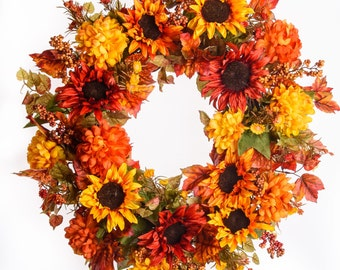 Sunflower and Mum Fall Wreath (FW706)