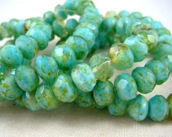 Czech Beads, 8x6mm Rondelle, Czech Glass Beads, Aqua Rondelle - Aqua Blue with Golden Highlights (R8/RJ-1509) - Qty 25