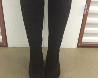 Vintage Faux Suede/Velvet Stretch Knee High Boots