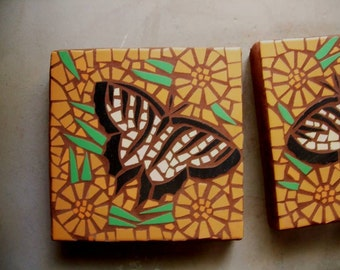 """Mosaic stepping stone, Butterfly, 12"""" square, garden art, exterior ceramic garden stone, left or right facing, Made to Order"""