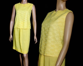 Vintage 1960s Outfit Yellow Lace Pencil Skirt Rockabilly Garden Party Mad Man Couture Pinup Bombshell Femme Fatale
