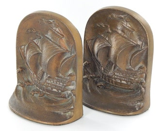 Nautical Themed Heavy Brass Book Ends