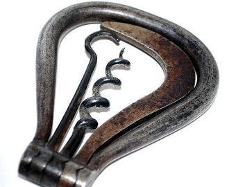Late 19th Century Victorian Pocket Folding Steel Bow with Three Tools - Corkscrew, Button Hook & Hoof Pick