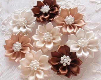 8 Handmade Flowers With Pearls  (1.5 to 1-3/4 inches) MY- 389-01 Ready To Ship
