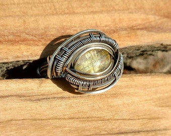 Sterling silver wire wrapped ring with rutilated quartz