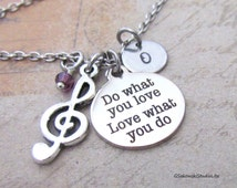 Do what you love Treble Clef Music Note Charm Necklace, Personalized Hand Stamped Initial Monogram Birthstone Antique Silver Music Necklace