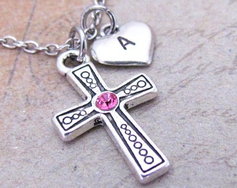 Cross Charm with Swarovski Birthstone Crystal Necklace, Personalized Hand Stamped Initial Monogram Antique Silver Cross Necklace