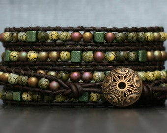 wrap bracelet- mixed yellow, green and bronze on black brown leather- beaded earth tones
