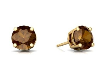 14Kt Yellow Gold Smoky Quartz Round Stud Earrings