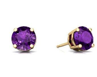 14Kt Yellow Gold Alexandrite Round Stud Earrings