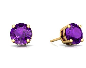 14Kt Yellow Gold Amethyst Round Stud Earrings