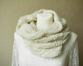 Cowl hand knitted Ivory Snood Neck warmer Circle scarf Tube scarf