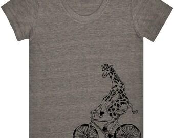 Giraffe On Bicycle T Shirt.Women's American Apparel Tri-Blend Track Shirt.Bicycle Shirt.Bicycle.Giraffe Shirt.Bicycle Shirts.Side Print