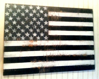 "Distressed Black and White American Flag wall decor-24"" x 17""/Americana/Patriotic"