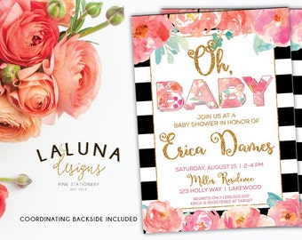 Floral Baby Shower Invitation, Girl Baby Shower, Black & White Stripe Baby Shower, Pink Floral, Gold Glitter Invitation, Watercolor Flowers