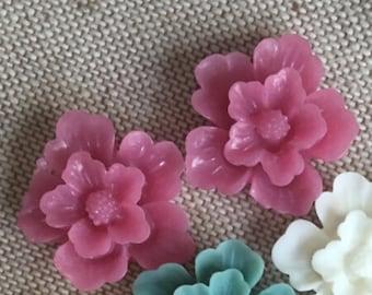 12 pcs of sakura flower cabochon-22mm-rc0166-10-magenta