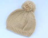 Baby hand knitted beige baby bobble hat to fit 3 to 6 months