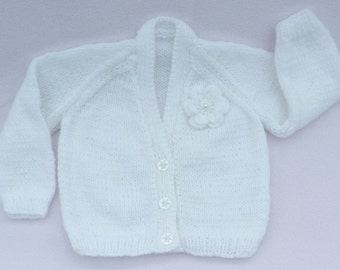 Baby sweater. Baby girl sweater, hand knitted white baby cardigan to fit 3 to 6 months, baby clothes, baby gift, baby shower.