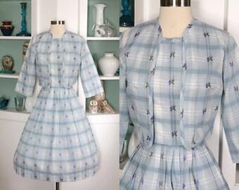 1950s Dress & Bolero Set / Vintage 50s 60s Light Blue White Plaid Purple Floral Cotton Sun Dress Cropped Bolero Jacket / Rockabilly - XS/S