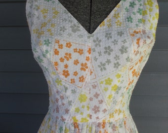 Vintage 1950s Dress - Spring Delight Cotton Print Dress