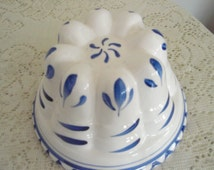 Vintage blue and white ceramic mold,Gelatin Mold,Salad Mold, Pudding Mold.   Kitchen wall hanging mold