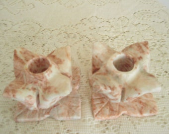 Pink Veined Marble Candle Holders, Marble Tulip shape candlestick holders
