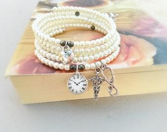 Stethoscope caduceus memory wire bracelet,Gift for a doctor bracelet,medical student gift,gift for a nurse,Multi strand coil bracelet,pearls