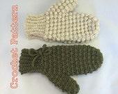 PDF Crochet Pattern - Women's Puff Stitch Mittens Two Versions - Instant Download