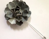 Gray Lapel Flower Gray Enamel Flower Grey Lapel Pin Buttonhole Metal Rosette Gray Lapel Pin Gray Boutonniere Men's Lapel Flower Dapper